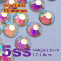 Free Shipping Nail Art Rhinestone Crystal AB Color SS5(1.7-1.8MM) 1440pcs/pack Non Hotfix Flatback Crystal Stones