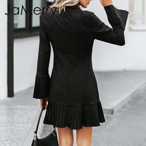 Image 4 - JaMerry VINTAGE ruffled คู่ผู้หญิงสำนักงานเลดี้ Casual Blazer สีดำฤดูใบไม้ร่วงฤดูหนาว Slim ทำงานชุด