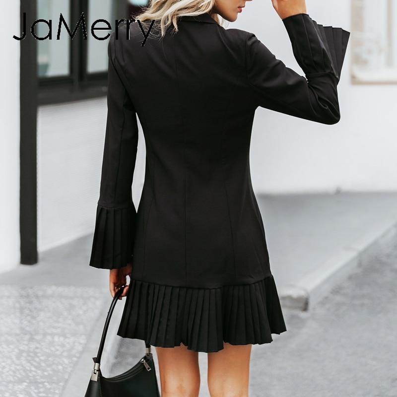 Image 4 - JaMerry Vintage ruffled double breasted women dress Office lady  casual blazer black dress Autumn winter slim work wear dressesDresses