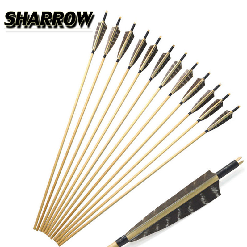 "12X Archery Recurve Arrows Vintage Wood Traditional Hunting 5/"" Steel Tip 31/"""