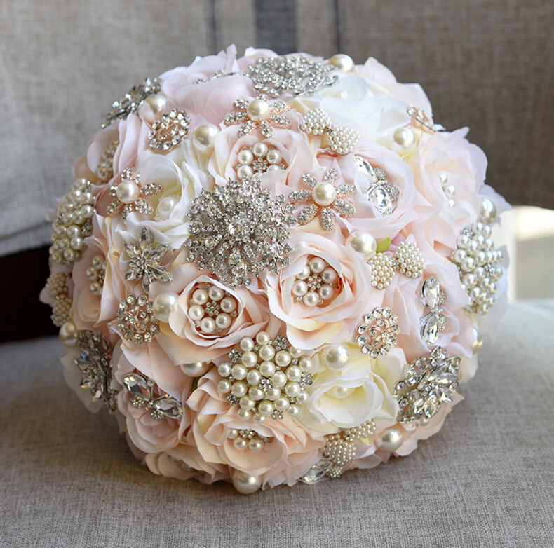 En stock Ronde Blush Bouquet De Mariage Teardrop Papillon Broches Bouquet Alternative En Cascade Bouquet De Mariage En Cristal Fleurs