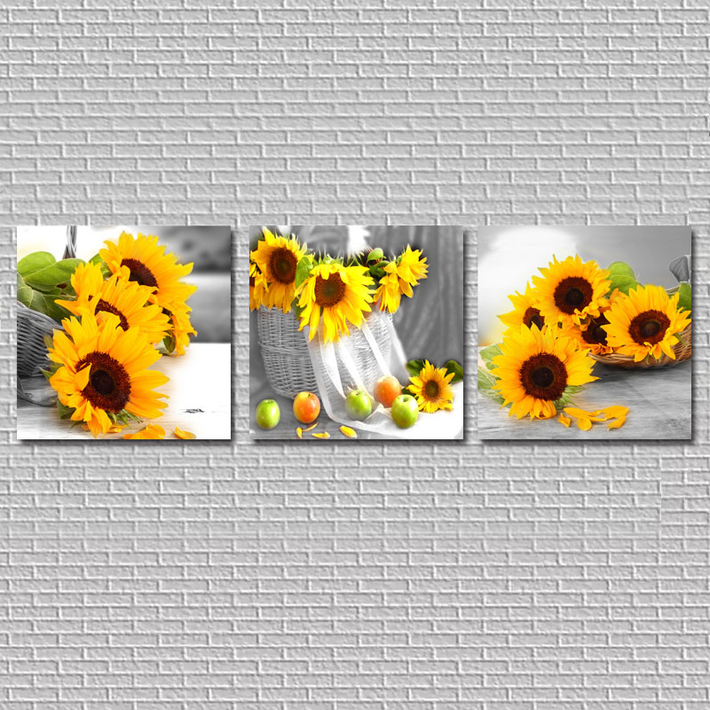 3 Piece Canvas Painting Yellow Sunflowers Wall Pictures For Living Room Home Decor Canvas Prints Wall Art Paintings HY92