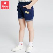 Tinsino 2017 Girls Summer Casual Denim Shorts Children Girl Jeans Pants Girl's Stars Pattern Jeans Trousers Kids Clothing
