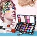 Líquido cor 18 sombras de olho + 2 blush + pó compacto + 3 Conjuntos de Maquiagem nu Lábio congelado + 2 Sobrancelha Profissional sombra