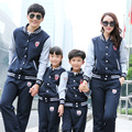 2016 Spring New Family Matching Outfits Mother Daughter Son Father Letters Baseball Jacket Pants 2Pcs Family Sports Suits A23