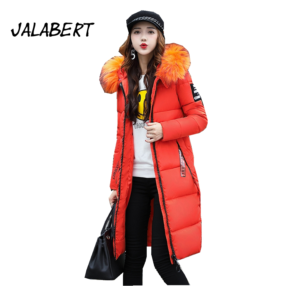 JALABERT 2017 winter new woman's Big Fur collar long section coat Female Slim plus thick fashion feather cotton warm jacket new winter fur collar hooded drawstring waist plus velvet thick warm long section of peach coat big yards