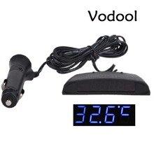 12 В автомобиль часы подкладке 3 в 1 стайлинга автомобилей часы theromometer Напряжение Дисплей Мониторы часы салона часы орнамент