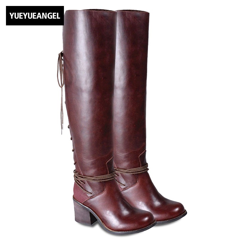 Winter Women Block High Heels Over The Knee Boots Luxury Punk Genuine Leather Lace Up Round Toe Warm Long Knight Boots Black peter block stewardship choosing service over self interest