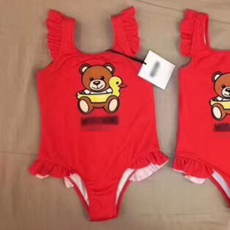 2018 Summer New Toddler Kids Swimwear Baby Girls Red Bikini Swimwear One-Piece Swimsuit Cute Bear Brand Swimming Costumes funfeliz flamingo swimsuit for girls 2 8 years one piece girls swimwear cute unicorn kids swimming suit children bathing suits