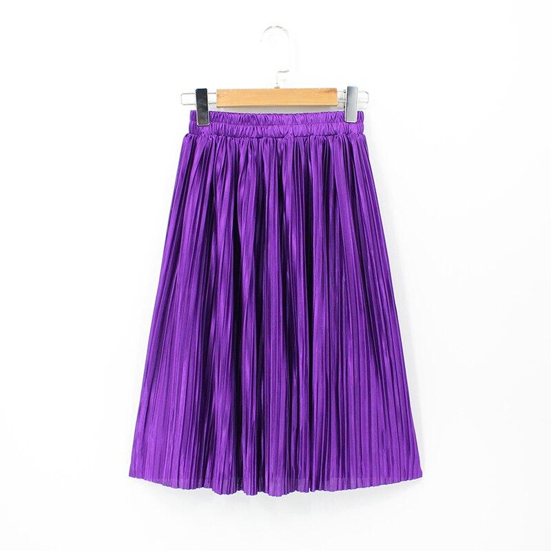 8b7cb579e71 ... 2018 Women High Waist Elastic Plus Size Purple Skirt Knee Length  Metallic Pleated Skirts Korean Style Sexy Vintage Saia Midi