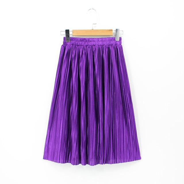 c39fb43c63b8c 2018 Women High Waist Elastic Plus Size Purple Skirt Knee Length Metallic  Pleated Skirts Korean Style