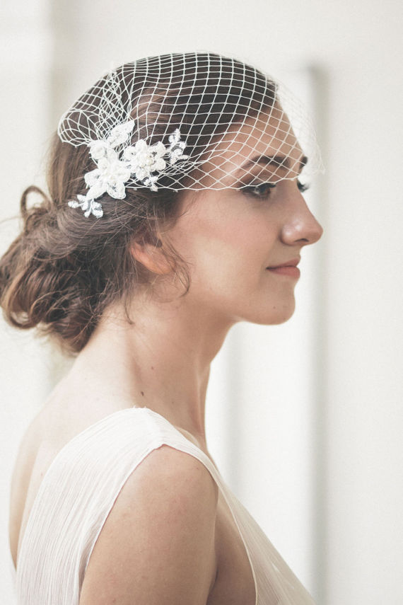 White bride veil lace bridcage with crystal beaded wedding accessories bride hair accessories in Bridal Veils from Weddings Events