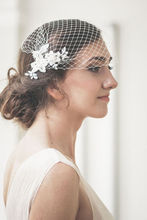 White bride veil lace bridcage with crystal beaded wedding accessories hair
