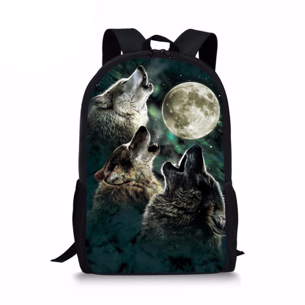 Cool 3D Wolf Moon Backpack for School Children Harness Primary Kids Dinosaur Bagpack Designer Bookbags Polyester