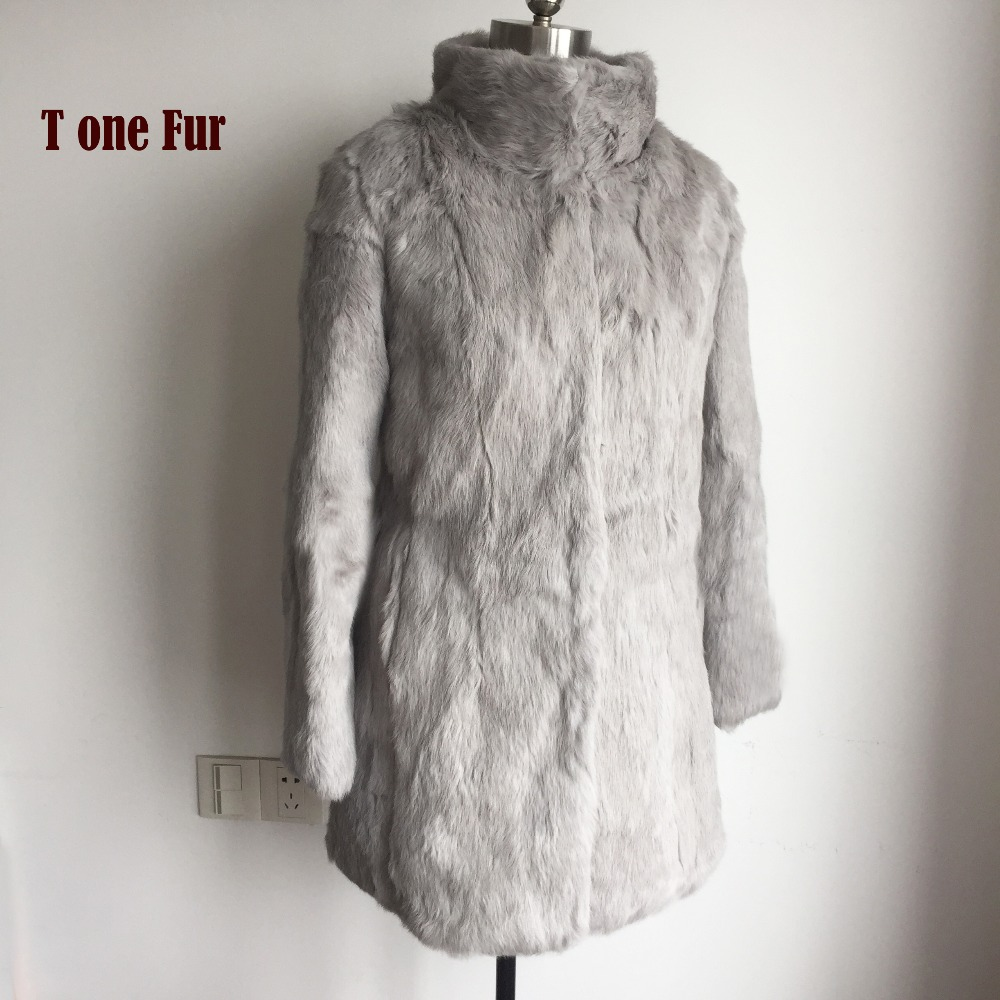 2019 New Top Fashion Full Pelt Natural Rabbit Fur Coat Women Winter Long Outwear Real Fur Jacket KSR151