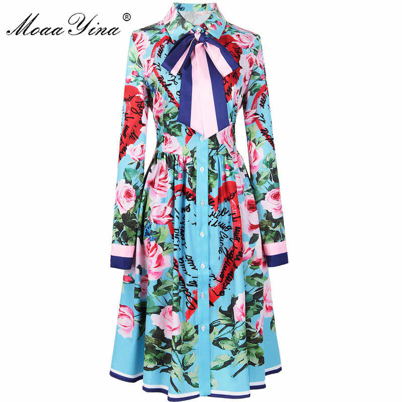 MoaaYina 2018 Fashion Designer Runway Dress Spring Women Long sleeve Ribbon Rose Letter Heart Floral Print Casual Elegant Dress