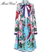 MoaaYina 2018 модное дизайнерское подиумное платье весна женское с длинным рукавом лента роза буквы сердце цветочный принт повседневное элегант...