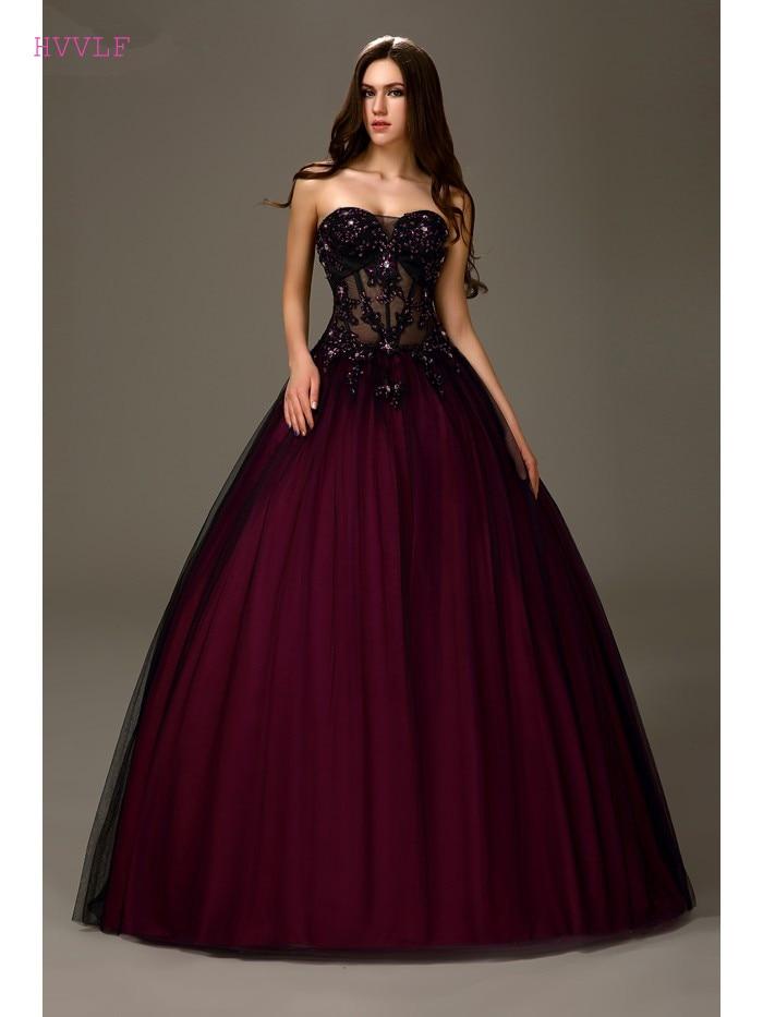 Black Puffy 2019 Cheap Quinceanera Dresses Ball Gown
