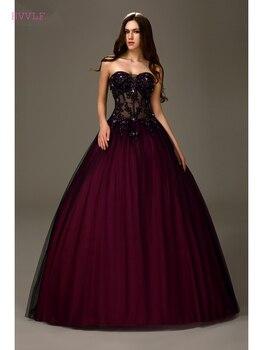 adda4f50e8f70 Siyah Kabarık 2019 Ucuz Quinceanera elbise Balo Sevgiliye Tül Boncuklu  Kristaller Dantel Tatlı 16 Elbiseler