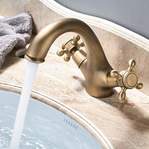 Image 3 - כפול ידית כיור ברזי סיפון רכוב פליז חם וקר כביסה אגן ברז עתיק פליז אמבטיה ברז