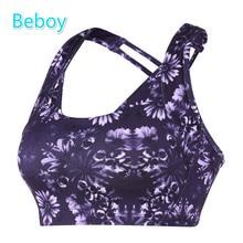 Beboy High Support Sports Bras Women Printed Wireless Yoga Bras Back Cross Padded Fitness Bras Quick Dry Athletic Running Bras