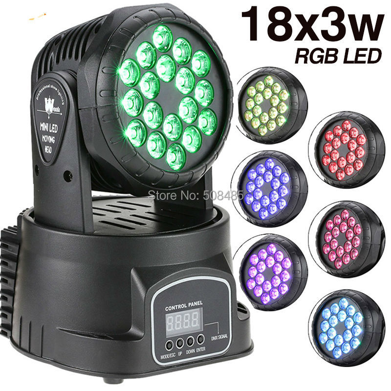 4 pieces/lot led wash 18x3w RGB LED mini Moving Head Light dmx Wash spot Light For Event,Disco Party Nightclub  free shipping 3wx36 rgb moving head wash professional dmx disco light show new product for 2016