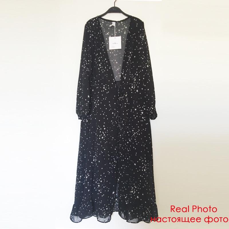 Elegant Ruffles Chiffon Women Long Dress Star Print Autumn Sexy V-neck Sashes Maxi Dress Evening Party Female Dress Vestidos (Black One Size)