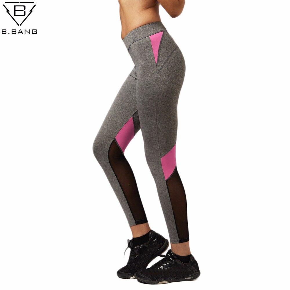 Prix pour B. BANG Femmes Yoga Pantalon Évider Épissage de Fil Net De Yoga Capris pour Courir Sport À séchage Rapide Remise En Forme collants Femme Leggings