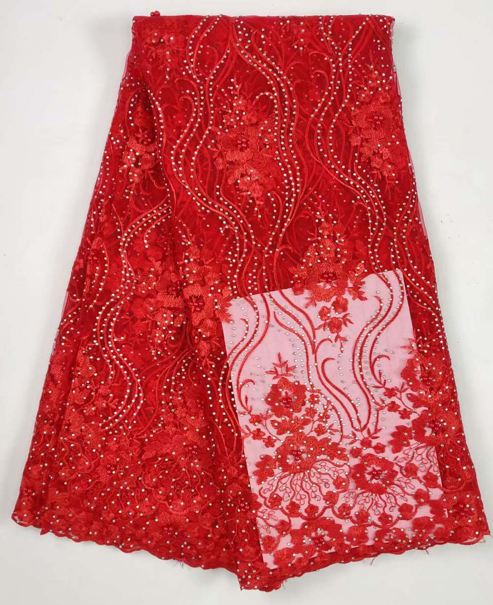 French Bead Lace Fabric red 2018 Latest African Mesh Tulle Lace Fabric 5Y Nigerian Guipure Lace Fabric High Quality