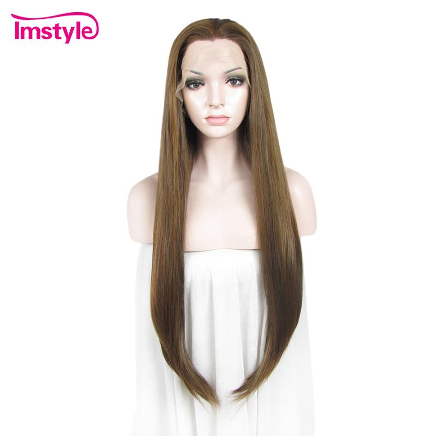 Imstyle прямые длинные каштановые парик Синтетические волосы на кружеве парики для Для женщин синтетический парик жаропрочных волокна натура...