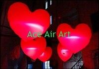 Bán Hot Treo Inflatable Trái Tim Màu Đỏ Airblown Valentines cho Đồ Trang Trí Bên với LED