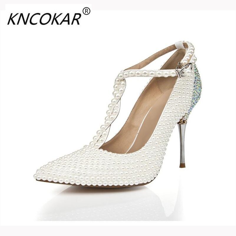 KNCOKAR 2018 new pearl single shoe white high heel banquet wedding and other occasions of the top quality women's shoes corporate governance and quality of earnings