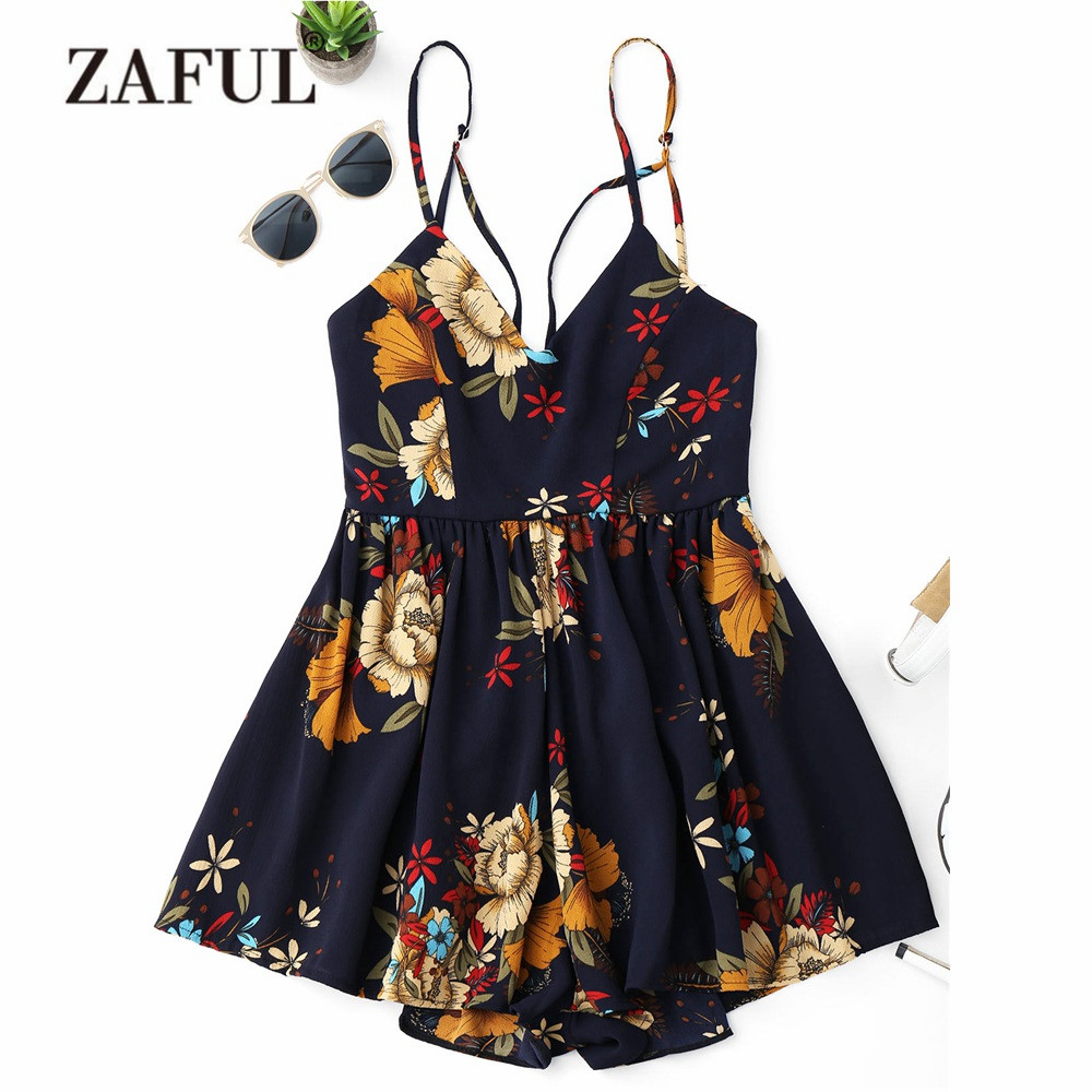 ZAFUL New Cover-ups Criss Cross Floral Cami Cover Ups for Women Flower Back Zipper Women Playsuit Summer Beach Cover -Ups кроссовки для девочки zenden цвет розовый 219 33gg 002tt размер 31