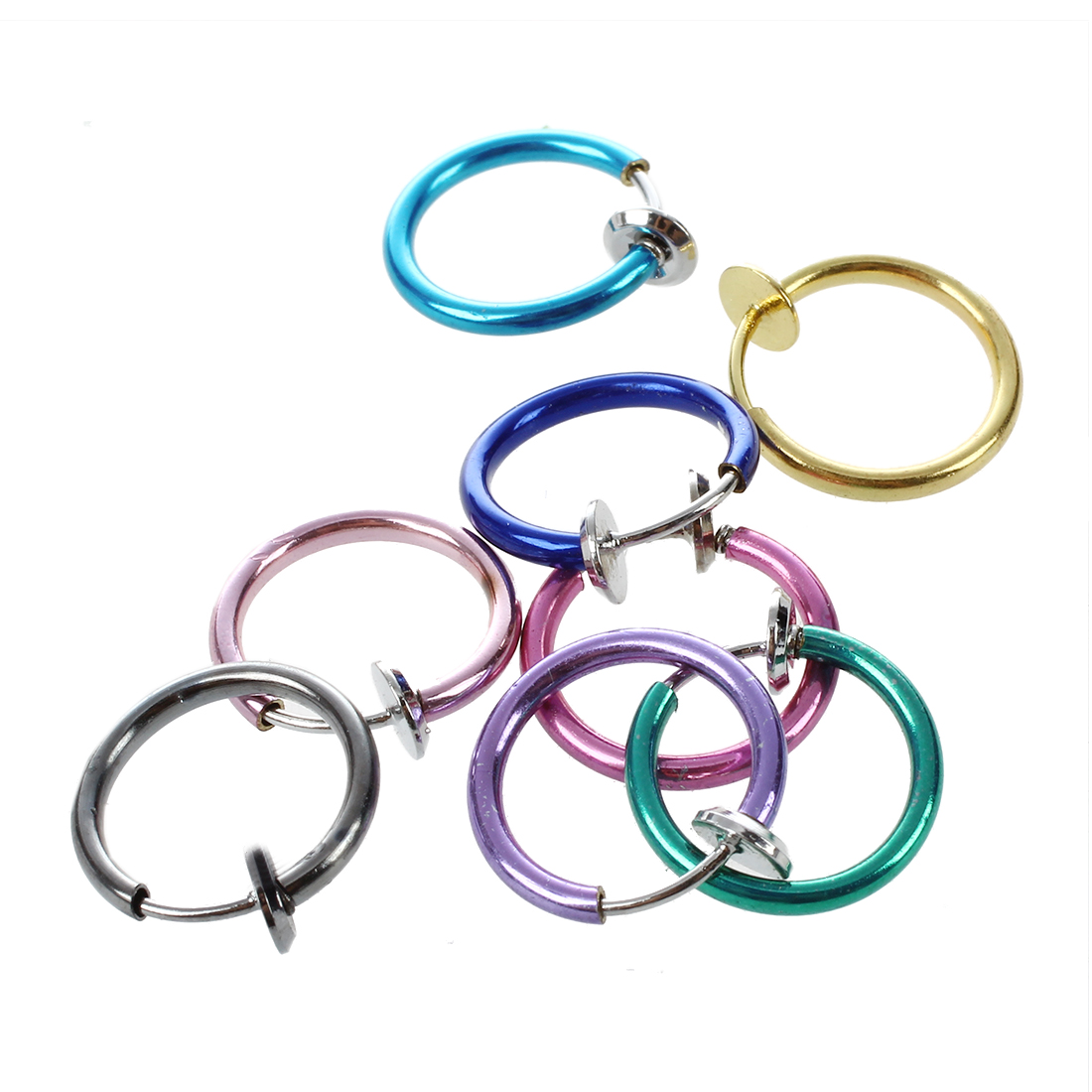 8 Lots Mix Color Clip Fake Punk Nose Ear Belly Rings