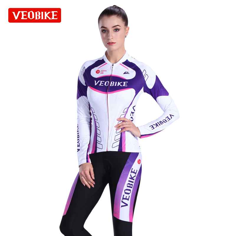 VEOBIKE Women 2017 Pro Team Racing Bike Clothing Set MTB Lady Cycling Jerseys Long Bicycle Clothing Womens Cycle Sports Wear top quality racing cycling club pink stripe cycling jerseys pro team tight fit long sleeve cycling clothing bicycle shirt