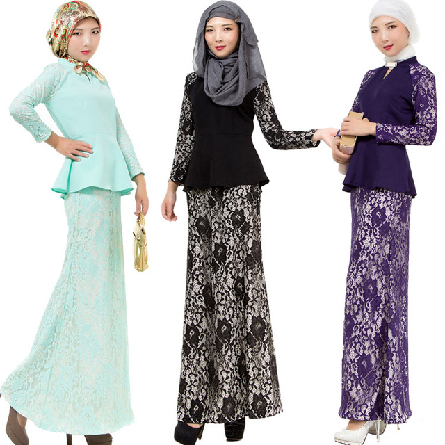 M L 3 Colors Girl Lace Long Dresses Muslim Women Worship Clothes