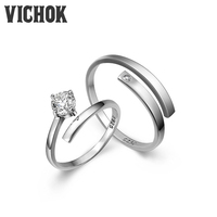 VICHOK Simple 925 Sterling Silver Platinum Plated Open Rings Lover For Women Men Resizable Fine Jewelry
