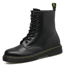 2018 Fashion New Black  boots Women Retro Summer/Spring Flat Mid-Calf boot Adult Girls Lace-Up Low Round Toe Boot