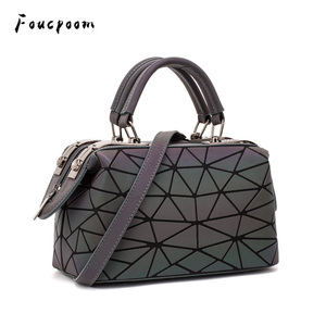 Image 1 - Fashion Geometric Handbag Bag Women Luminous Boston Bag Female Messenger Bags Ladies Plain Shoulder Bags Tote Clutch Sac bolso