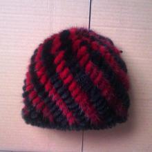 freeshipping hot sales 2014 mink knitting fashion lady warm earmuffs fur hat striped unisex female winter hats Casual
