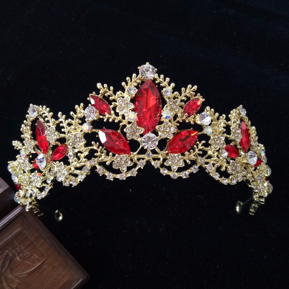 Fashion Red/Clear Crystal Bridal Tiara Crown Bride Headbands Women Prom Diadem Hair Ornaments Wedding Hair Jewelry Accessories