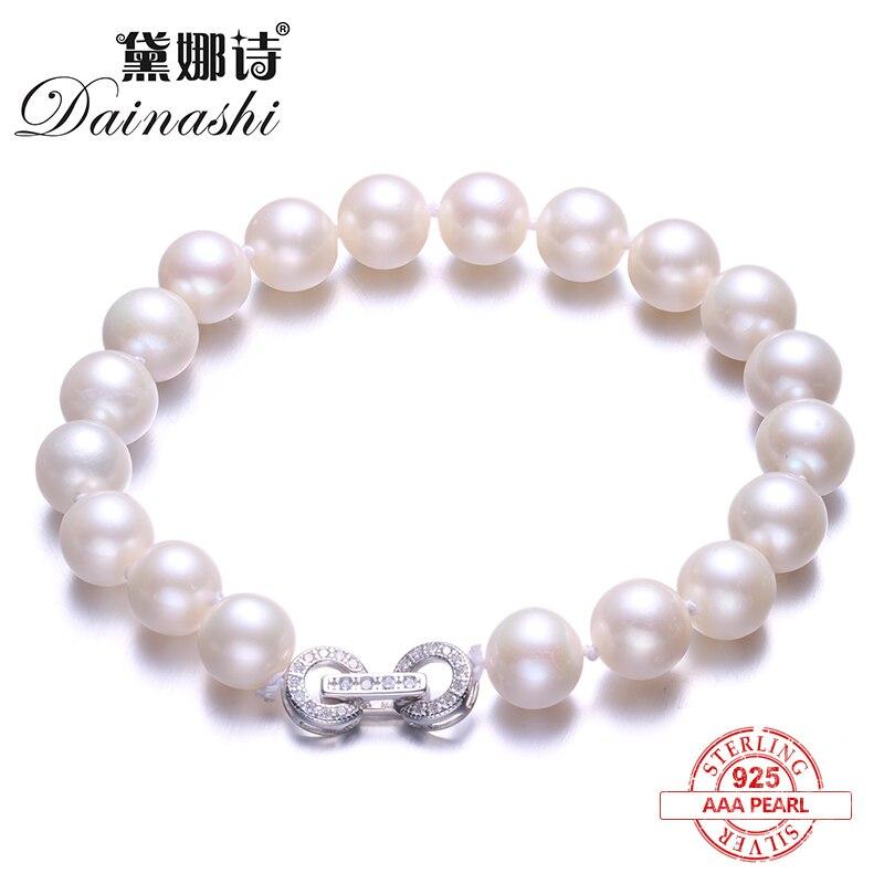 Dainashi Élégant Perle Ronde Bracelet, Haute Qualité Naturel Perle D'eau Douce Bracelet pour Femmes En Argent Fin Bijoux Cadeau Boîte