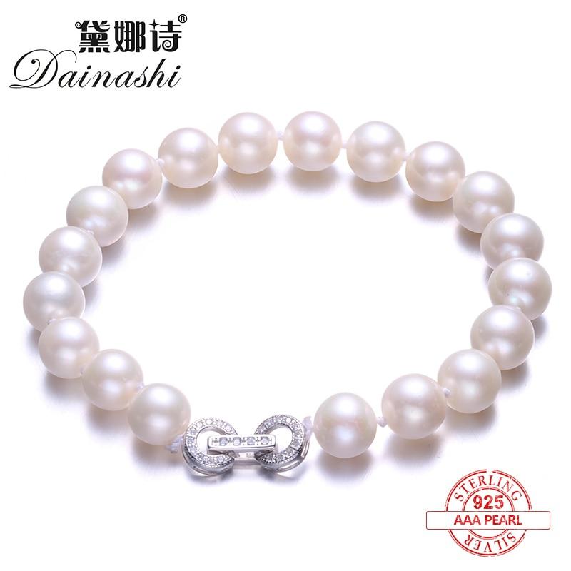 Dainashi Elegant Round Pearl Bracelet,High Quality Natural Freshwater Pearl Bracelet for Women Fine Silver Jewelry Gift Box все цены