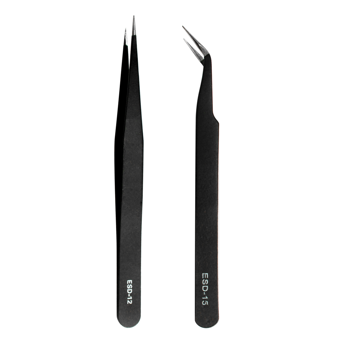 Stainless Steel Precision Tweezers Set Anti-static Tweezers Repair Tool Soldering Station Welding Assist ESD-12 ESD-15