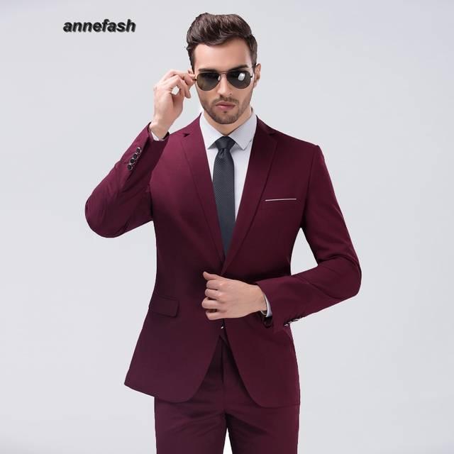 d613e845daa8b6 R$ 450.75 |Mens estilo Euro alta qualidade Homens Partido Terno Slim Fit  Nova Moda 10 cores puls tamanho Terno Do Casamento (jaqueta calças) em ...