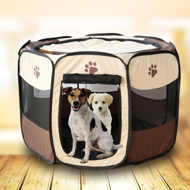 Pet Fence Portable Folding Pet Tent Playpen Dog Fence Puppy Kennel Easy  Operation Folding Exercise Play