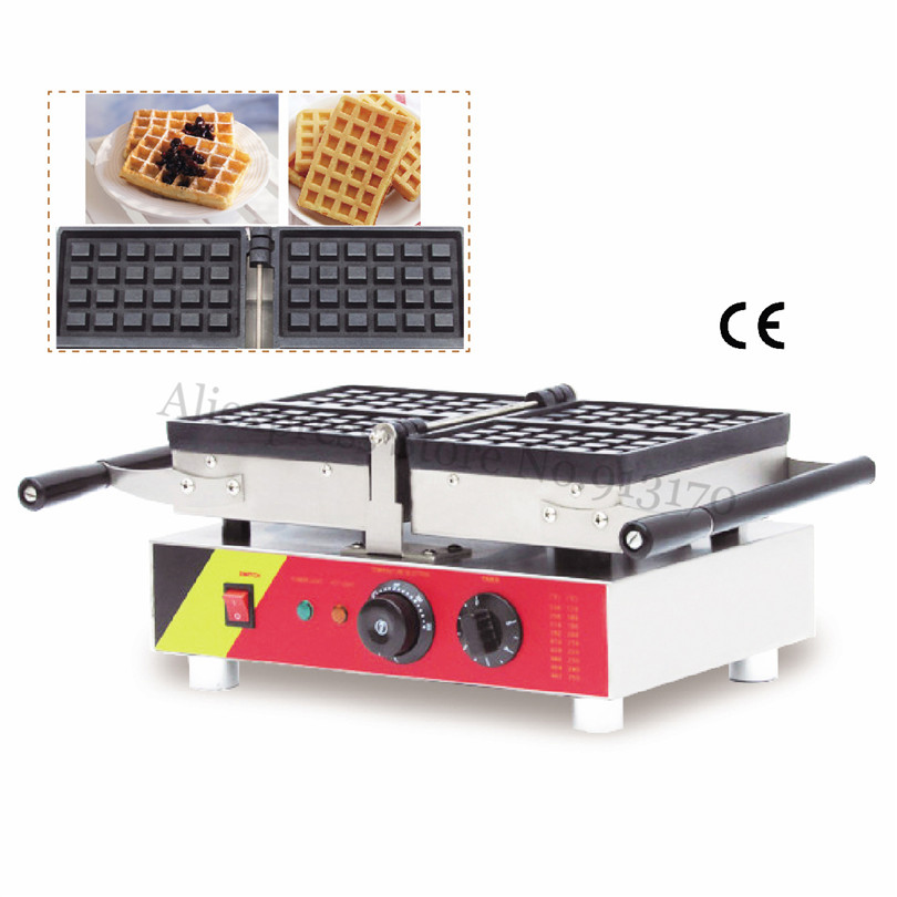 Electric Conact Waffle Machine Belgian Square Waffle Maker Stainless Steel Folding Type 220V 110V cukyi household electric multi function cooker 220v stainless steel colorful stew cook steam machine 5 in 1