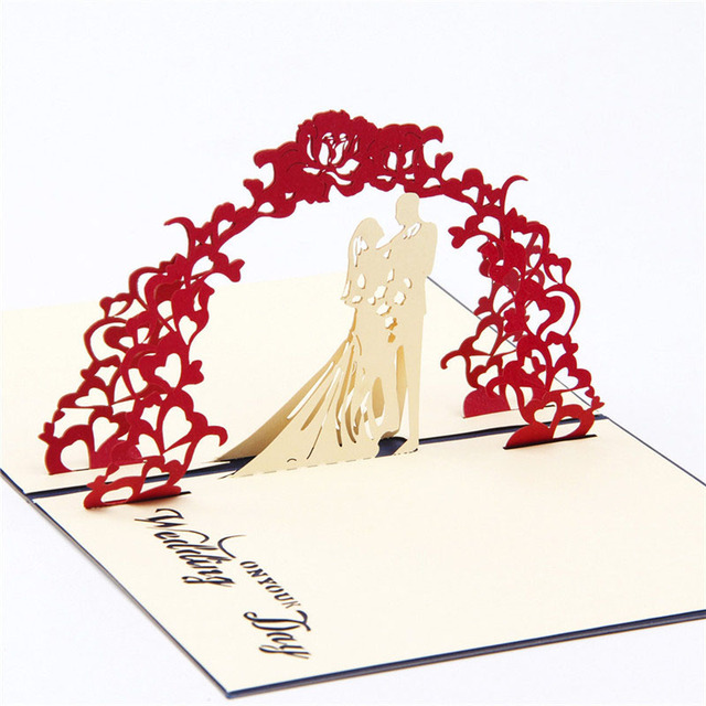 1pc Hot 3d Paper Laser Cut Carving Sweet Wedding Day Postcard
