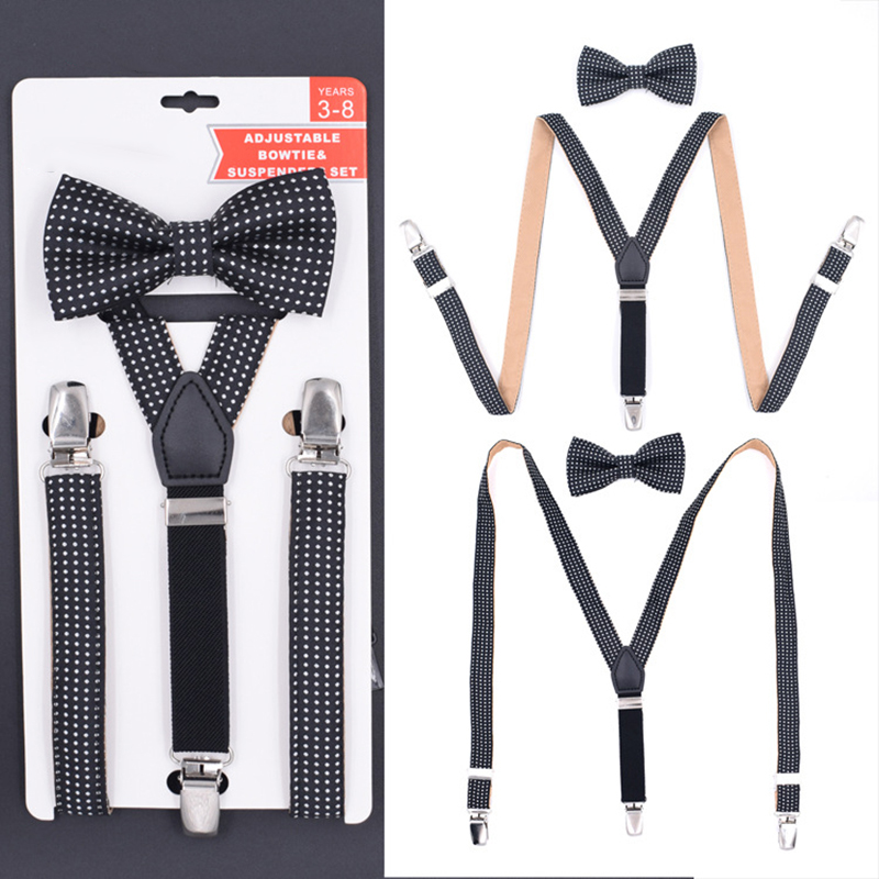 Kids Dot Adjustable Y Back Suspenders Bowtie Set Boy Girl Elastic Braces Children Costume Bretelle Bambino Wedding Bowties Belt