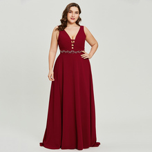 Dressv Burgundy PlusขนาดยาวชุดราตรีราคาถูกVคอZipperประดับด้วยลูกปัดชุดแต่งงานชุดสายEveningชุด